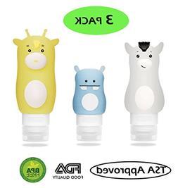 3 Pack Portable Travel Bottle Set, Leak Proof BPA Free TSA A