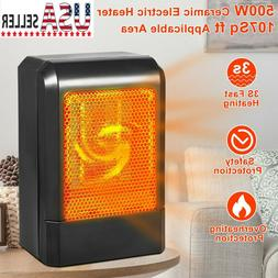 Portable Ceramic Space Heater 500W Electric Heater Home Offi