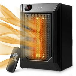 Portable Electric Space Heater 1500W 12H Timer LED Remote Co