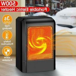 500W Portable Ceramic Space Heater Electric Heater with Adju