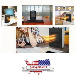 Portable Mini Ceramic Space Heater w/ Adjustable Thermostat