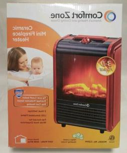 Portable Mini Electric Fireplace Space Heater, Red Ceramic H