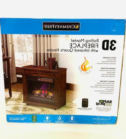 Rolling Mantel Infrared Quartz Electric Fireplace Space Heat
