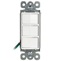 ENERLITES Single Pole Triple Light Switch, 62755-W | 3 Indiv