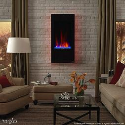 "Clevr 32"" Vertical Wall Mounted Fireplace Heater, with Adjus"